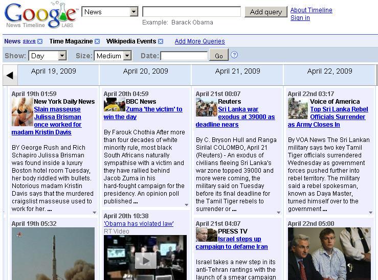 Google newstimeline 04.22.09